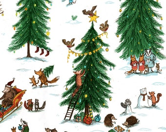 Winter Woodland, Christmas Animals Wrapping Paper, Set of three sheets