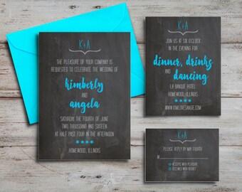 Invitation, Reception Card + RSVP Card
