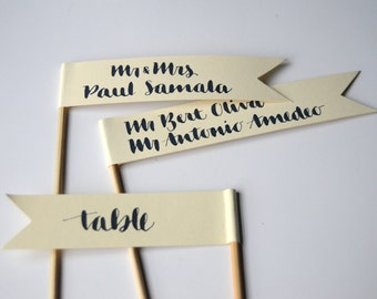 SAMPLE Calligraphy Escort Placecard  Flags
