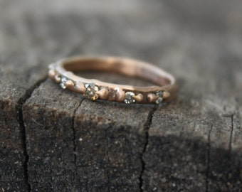 14k Pink Gold Diamond Half Eternity Ring