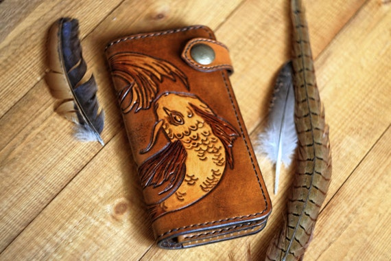 Leather Long Wallet/Hand tooled moth/Ladies hand carved and tooled long wallet/Handmade Leather Boho
