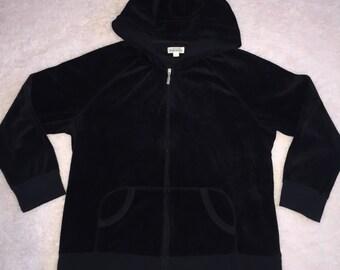 black velour zip up hoody - xl