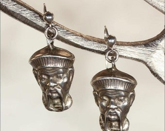 SALE Antique Victorian Chinoiserie Silver Earrings