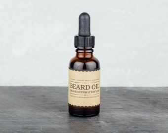 Beard Oil - Frankincence and Bay Leaf . Beard Conditioner. Beard Grooming and Care.