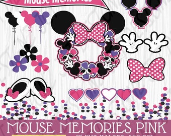 Mouse Memories, Minnie Inspired clipart, Disney inspired clipart, Minnie Mouse Clipart, digital scrapbooking, instant download, cute