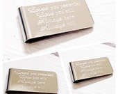 Mens Money Clip  Mens gift   Anniversary Gift  Boyfriend gift  Birthday Man Gift  Mens Personalised Gift by Glam and Co (W220)