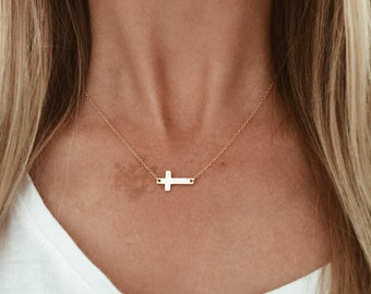 """Gold or Silver Cross Necklace - 14/20 Gold-fill Cross on a 14/20 Gold-fill chain 14"""", 16"""", 18"""", 20"""""""