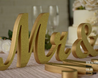 Gold Glitter Mr and Mrs, wedding sign mr & mrs, mr and mrs sign, mr and mrs wall decor, mr and mrs table sign, mr and mrs wedding gift