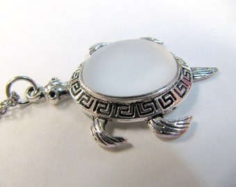 Luna Soft Turtle Pendant, Pearl White, Iridescent Shiny Cabochon, Stainless Steel Chain, 40mm X 25 mm,