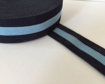 2.5 cm (1 in) wide sewing elastic, navy and blue striped elastic webbing, striped elastic belt, elastic by the yard, sewing elastic