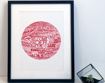 Sunderland Association Football Club Typography Poster Print