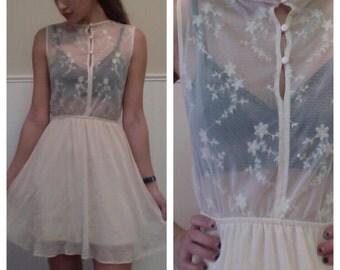 Cream Lace Sheer Mini Sleeveless Skater Dress