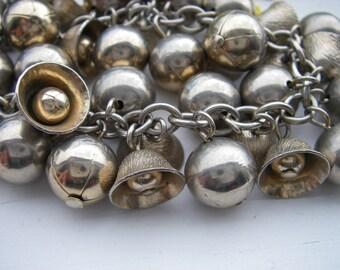 Vintage Silver Bell Bracelet, Silver Tone Metal Bells Charm Bracelet, Boho Hippie Statement Jewlery