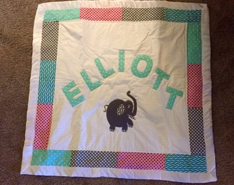 Monogrammed baby quilts. Shadow box.  Boy or girl.