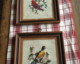 Pair of vintage needlepoint birds - scarlet tanager and oriole