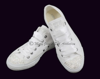 a053c1d8a6a5 wedding converse trainers converse swarovski crystal converse low top shoes  converse all star prom shoe chuck
