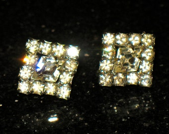 Vintage Art Deco Prong Set Rhinestone Square  Screw Back Earrings
