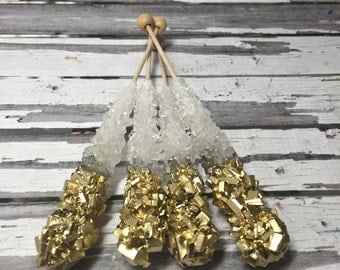 12 Clear Rock Candy Sugar Sticks Gold Tips Sweets Table Birthday Party Favors Wedding Baby Bridal Shower Gluten Free Corporate Event