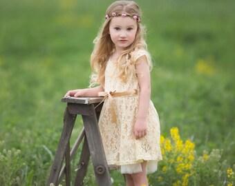 Flower Girl Dress, Rustic Lace Flower Girl Dress, Rustic Flower Girl Dress Beige, Girls Lace Dress