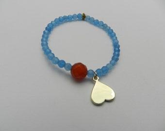 Blue jade, carnelian beaded bracelet