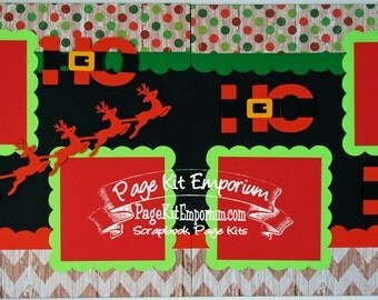 Scrapbook Page Kit Christmas Santa Sleigh Boy Girl Baby 2 page Scrapbook Layout 83