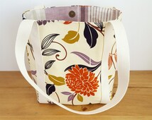 Small Tote Bag, Handmade Handbag, Gift For Mum or Friend, Orange Flower Womens Lunch Bag, Book or Bible Journalling Bag