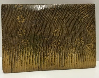 Clutch Bag, Snake Skin Effect, Leather Vintage with Accessories