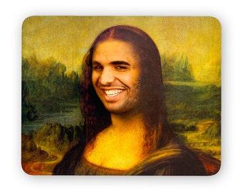 Drake Mona Lisa - funny desk mouse pad, meme mouse pad, comptuer mouse pad, desk accessory mouse ...