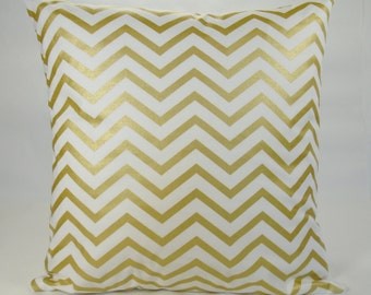 Gold Pillow, Suede Pillow, Gold and White Pillow, Chevron Pillow