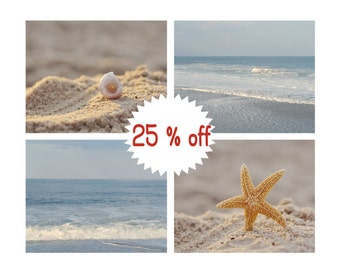 Beach photography set 4 seashore 11x14, 8x10 prints, pastel blue beige beach decor, seashell starfish ocean coastal wall art nautical prints