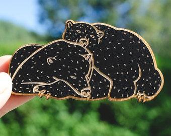 Fridge Magnet - Bears Fridge Magnet - Refrigerator Wood Magnet - Sleeping Bears Magnet