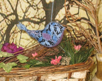 Bird Ornament Handmade beautiful Blue and purple Primitive