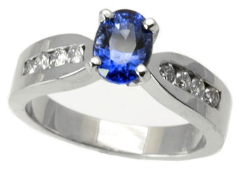 1.32 cttw 14k White Gold Blue Sapphire Channel Diamond Engagement Ring