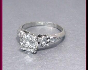 Antique Vintage Art Deco 1930's Old European Cut Diamond Engagement Ring Wedding Ring - ER 372M