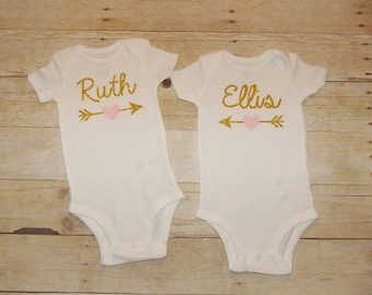 Personalized baby girl onesie with name or age one two three Gold pink or pick your color