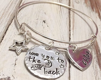I love you to the moon and back bracelet - Mother's bracelet - Custom jewelry - I love you to the moon and back - Mother's Day- Gift for mom