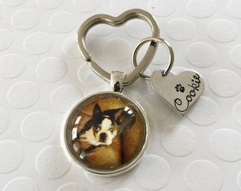 Pet jewelry - Dog necklace - Photo pendant w handstamped heart tag - Pendant with photo of pet - Handstamped heart necklace - Photo necklace