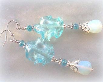 Handmade Jewelry, Blue Earrings, Lamp Work Earrings, Bridal Earrings, Prom Jewelry, Opalite Earrings, Handmade Earrings, Sky Blue Earring