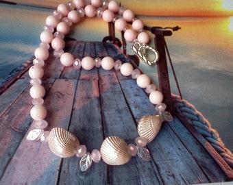 Beach Jewelry, Natural Shell Jewelry, Pink Earrings, Pink Necklace, Handmade Jewelry, Shell Jewelry, Pink Shell Jewelry, Seashore Jewelry