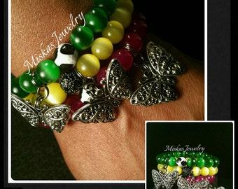 10mm Butterfly Stack Jade and Cats Eye Beaded Bracelet Set Miskas Jewelry