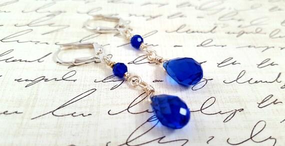 Dark Blue Crystal Earrings / Glass Crystal Earrings / Blue Teardrop Dangle Earrings / Long Cobalt Blue Earrings