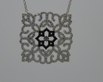 Art Deco Pendant Necklace-Bridal-Wedding-Classic-Vintage-Unique Design-Delicate Dazzling-Elegant Look-Sterling Silver