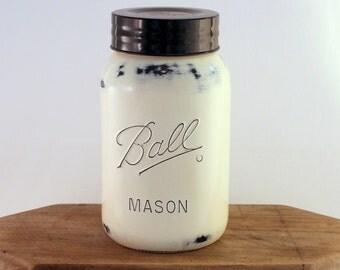 Antique White Gallon Mason Jar, Cookie Jar, Cottage, Farmhouse Kitchen,