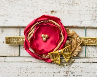 Red and gold Christmas Headband for newborn, child or Adult