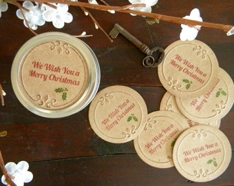 Merry Christmas, Canning Jar Lids, Stickers, Gifts in a Jar, Mason Jar Labels, Gift Wrapping, Set of 8