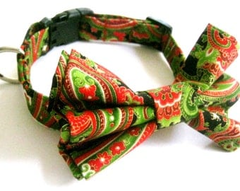 Bow tie collar Dog collar with attachable bow tie Paisley fabric collar