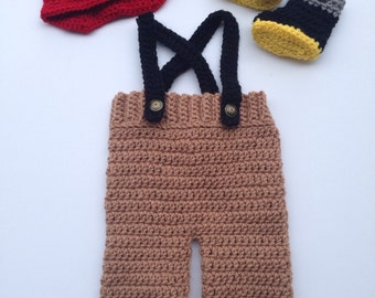 Crochet Fireman Set (hat, overalls and boots)