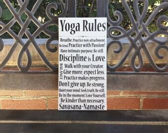 Yoga Rules, Yoga Practice and Principles, Handcrafted Canvas Namaste, Yoga LOVE, Yoga Studio Decor