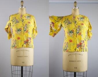 1970s Emanuel Ungaro Parallele Vintage Blouse / Yellow Floral  Blouse
