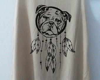 Dog Dream Catcher Shirt Tshirt Animal Shirt tshirt Women Shirt pug Tank Top Women Bulldog T-Shirt Tunic Top Vest Size S,M,L